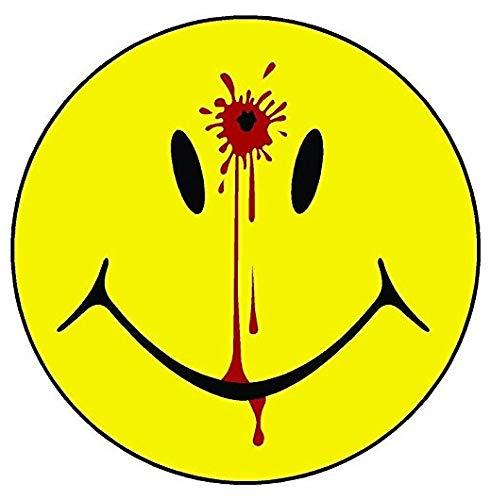 1 Smiley Face Dead Head Shot Bullet Hole Guns Blood Printed 5 Inch Sticker Decal Die Cut Sticker Graphic - Car Sticker Laptop Sticker