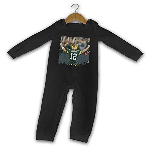MichaelFrance Aaron Rodgers Baby Fashion Boy Girl Cotton Long Sleeve Bodysuit 6 Months Black
