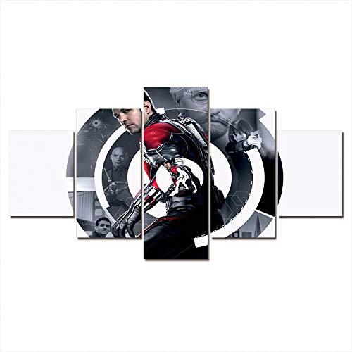 SILUYU Decoración De Pared Arte De La Pinturas Cartel de película TV De Impresión HD Cuadros Modulares Imágenes Lienzo 5 Panel para El Hogar Moderno-Marco(200x100cm