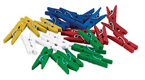 TimeTEX Set Kunststoff-Klammern 35 mm - 250 Stück in fünf Dosen - Rot - Gelb - Grün - Blau - Weiß Kunststoffklammern für Markierungen - 93048