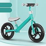 WJS Bicicleta Sin Pedales,Bicicleta Equilibrio para Niños,Bici Sin Pedales Niño 2 3 4 5 6 Años,12 Pulgadas Bicicleta Niño Manillar Y Asiento Regulables,Verde(Color:Green)