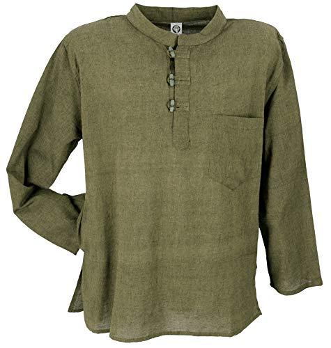 Guru-Shop Nepal Fischerhemd, Goa Hippie Hemd, Yogahemd, Freizeithemd, Herren, Moosgrün, Baumwolle, Size:L, Hemden Alternative Bekleidung