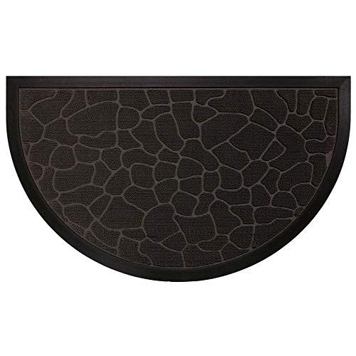 douceur d'intérieur tapis d'entree demi-lune 45x75 cm pvc galets noir