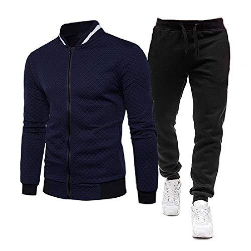 Herren Trainingsanzug 2 Stücke Herren Winterjacke Reißverschluss Jacken Sportswear+Hosen Sweatshirt Sportanzug Männer Sets Kleidung Gr. M, blau