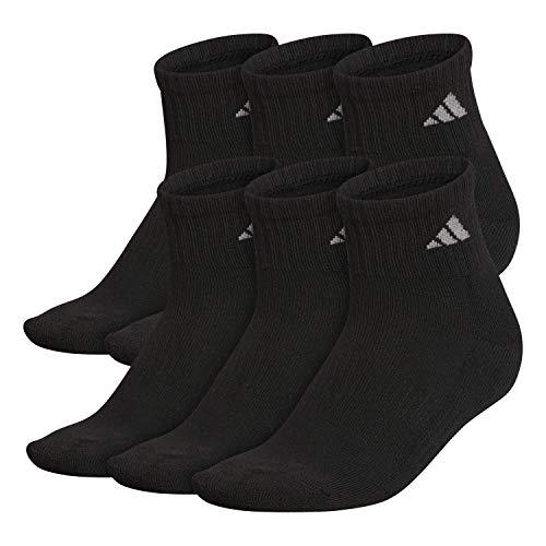 adidas Damen Quarter Socken (6er-Pack), Damen, Socken, Athletic Quarter Socks (6-Pair), Schwarz / Aluminium 2, Medium