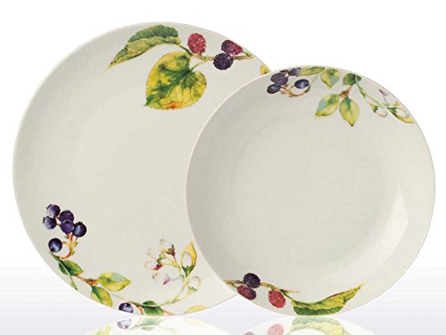 Tognana Lot de 6 Assiettes Creuses et 6 Grandes Assiettes Metropolis Myrtilles en Porcelaine Blanche