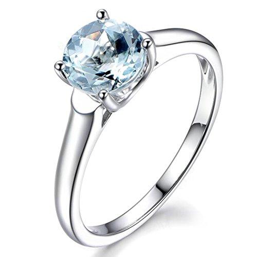 Mare blu Naturale Acquamarina Pietra preziosa 585/1000 (14 carats) 14K Oro bianco Fidanzamento Promettere Moda anello per donne