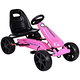 HONEY JOY Go Kart for Kids, Off Road Racing Style Pedal Car w/2-Point Adjustable Seat, Handbrake & Clutch, EVA Rubber Wheels, Pedal Powered Ride On Toy for Boys Girls (Pink)