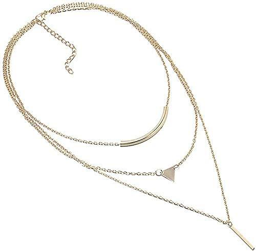 Yiffshunl Collar, Collar, Collar, 3 Capas, triángulo, Colgante, Cadena, Collar, Cadena Gruesa, Collares, joyería de Mujer