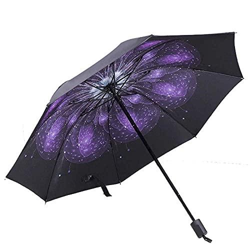 Paraguas de Mujer 3 Paraguas Plegable Pegamento Negro Paraguas de protección Solar sombrilla Paraguas Soleado y lluvioso Regalos de Moda Paraguas