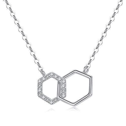 DHQH 925 Sterling Silver Geometric Pendant Necklaces Interlocking Hexagon Necklace Infinity Love Minimalist CZ Choker Necklace Silver Women Girls