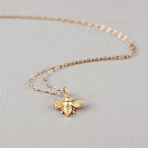Little Gold Bee Necklace • 24k Vermeil Honeybee/Bumblebee Charm •...