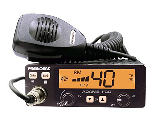 President Adams FCC CB Radio. Large LCD with 7 Colors, Programmable EMG Channel Shortcuts, Roger Beep and Key Beep, Electret or Dynamic Mic, ASC and Manual Squelch, Talkback. Buy it now for 59.95