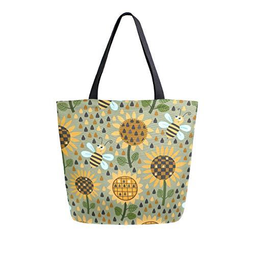 Mnsruu Bolsa de comestibles para mujer con diseño de girasoles y abejas, bolso de mano grande y casual, bolsa reutilizable para ir de compras, ir al gimnasio