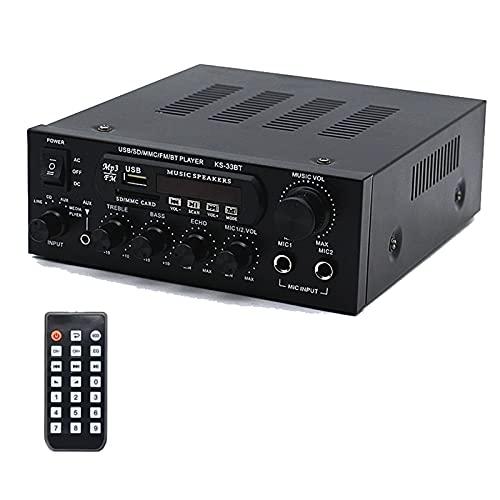 Amplificatore HiFi Audio Stereo 60W+60W BT Radio Portatile per Auto o Casa, con Telecomando ed Mini Display 2CH LCD, 12 V / 230 V
