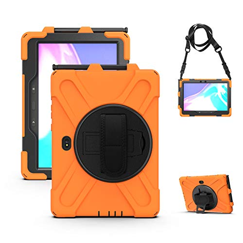 Case fits Samsung Galaxy Tab Active Pro, 10.1 Inch (2019 release) SM-T540/T545 /T547, Full-Body Heavy Duty Case with S Pen Holder, 360 Degree Rotating Stand with Shoulder Strap,Orange