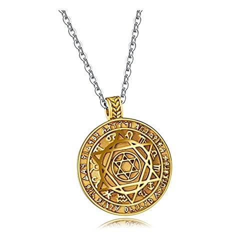 WFS Collares de moda para hombre, colgantes hexagonales, cadena de moda, joyería para hombre, collar de estilo vintage, círculo de acero, regalo dorado (color: oro)