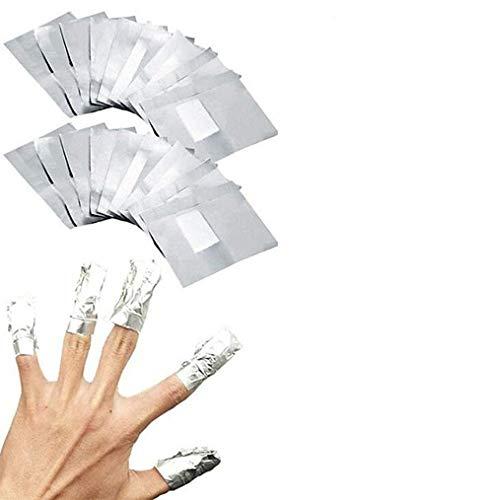 VOARGE Nail Polish Remover Wraps Pads, 200 Stück Nagellack Remover Aluminiumfolie und 1 Stück Nagelhaut Schieber und 1 Nagelfeile Streifen, Nagel Werkzeugset Zum Einfachen Entfernen Von Nagellack