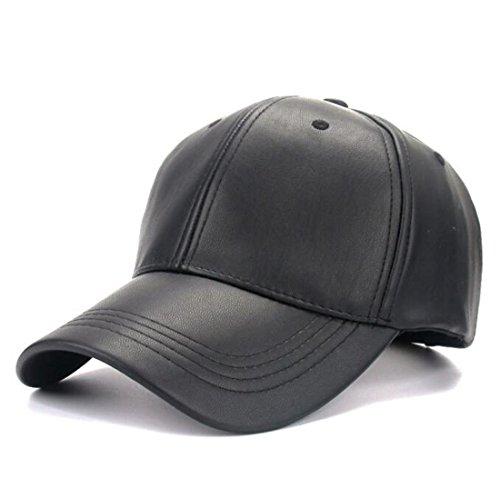 Kuyou Unisex Klassische PU Leder Baseball Cap Sports Outdoor Basecap Kappe (Schwarz)