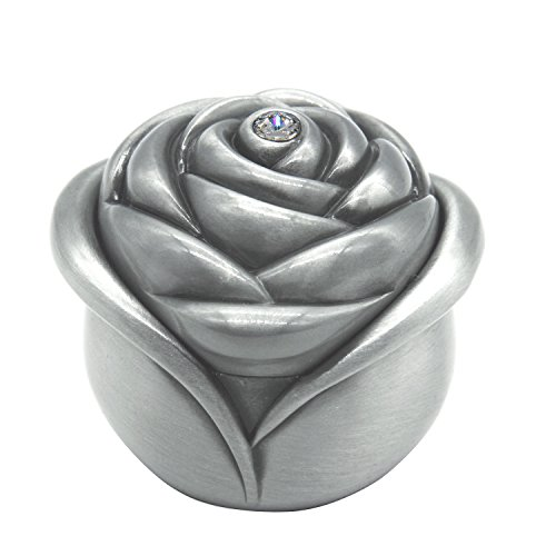 AVESON Vintage Rose Flower Style Antique Women Trinket Jewelry Gift Box Necklace Earrings Ring Storage Case, Sliver, Large