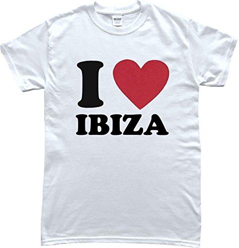 Hallion Clothing I Love Ibiza Holiday T-Shirt (Large) White