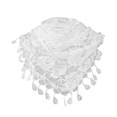 Gusspower Bufandas para Mujer,Encaje Borla Impresión Floral Triángulo Mantilla Mantón Bufanda 148x48cm (Blanco)