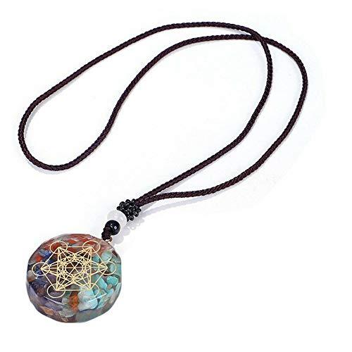 Loriver Collar con Colgante de Cristales curativos de Chakra Redondo, Collar de 7 Piedras de Chakra para joyería de curación Espiritual Hombres Mujeres