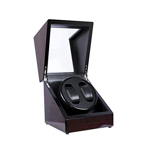 Uhrenbeweger für 2 Uhren Automatische Uhrenbeweger Kalawen Automatikuhren Uhrengehäuse mit leisem Motor für 2 Uhren Luxuriöser Uhrenwender Aufbewahrung mit Batteriebetrieb oder Netzteil Rot