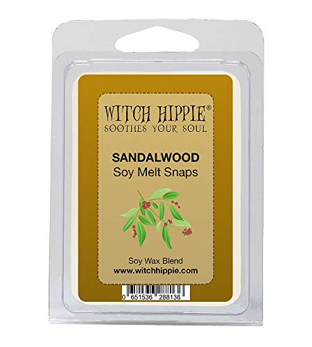 Witch Hippie Sandalwood Scented Wickless Candle Tarts, 6 Natural Soy Wax Melts, A Lovely Scent
