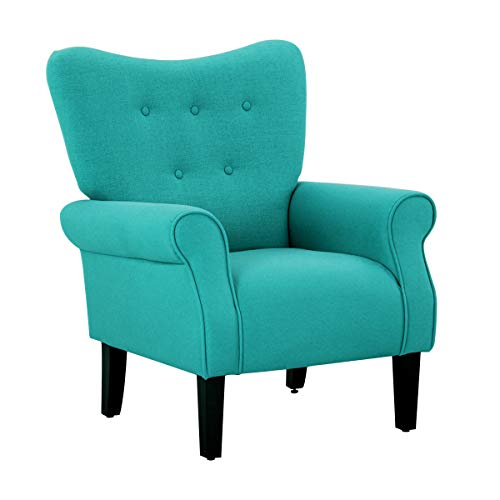 Mellcom Mid Century Wingback Arm Chair,Modern Upholstered Fabric High Back Accent Chair with Wood Legs,Upholstered Single Sofa Club Chair for Living Room, Bedroom, Home Office, Tiffany Blue