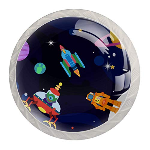 Pack de 4 pomos redondos de cristal para cajones de 30 mm para armarios de 30 mm, diseño de estrellas de planeta
