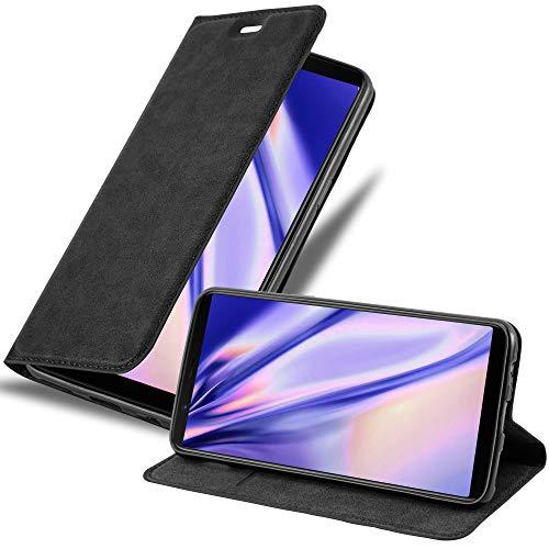 Cadorabo Hülle für OnePlus 5T in Nacht SCHWARZ - Handyhülle mit Magnetverschluss, Standfunktion & Kartenfach - Hülle Cover Schutzhülle Etui Tasche Book Klapp Style