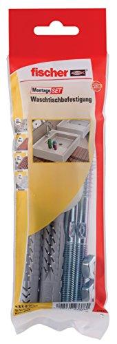 fischer MontageSet Waschtischbesfestigung B, mit 2 x Universaldübel UX 14 x 75, 2 x Stockschraube 10 x 140 gvz, 2 x Bundhülse, 2 x 6-kant-Mutter M 10 gvz - 1 Stück - Art.-Nr. 534574