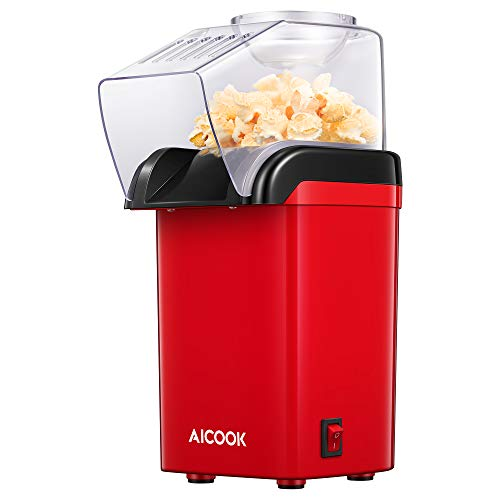 AICOOK Hot Air Popcorn Maker, AICOOK 1200W Fast Home Popcorn Popper with Measuring Cup and Removable Top Cover, Easy To Clean & Healthy Oil-Free, Perfect for Movie nights, BPA-Free&ETL Certified (RED)