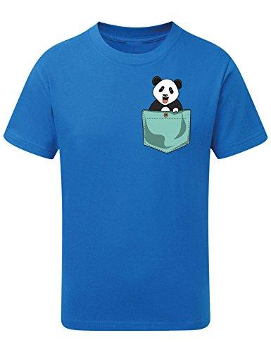 Jungen T-Shirt: Panda - Bär - Baby Little Kleine-r - Niedlich - Zoo - Süss - Tier Tiere - Geburtstag-s Shirt Kinder Kind Kid-s - Geschenk-Idee -Junge - Blau - Schule (128)