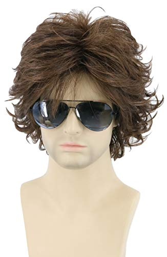 Topcosplay Mens Wigs Brown Short Cosplay Wig Wavy Fluffy Style Layered Halloween Costume Wigs Adult or Children
