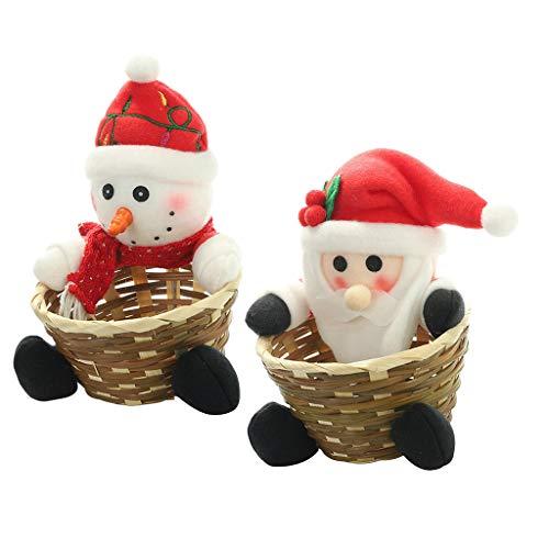 FLAMEER 2 Stücke Tuch Bambus Weihnachten Candy Ablagekorb Dekoration Partei Liefert