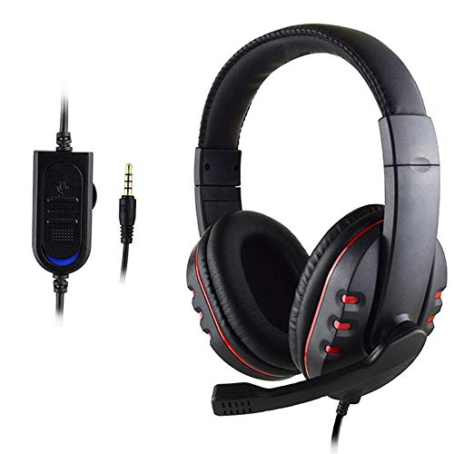 Auriculares estéreo para Xbox one PS4 PC 3.5mm cable auriculares para jugadores con micrófono control de volumen rojo