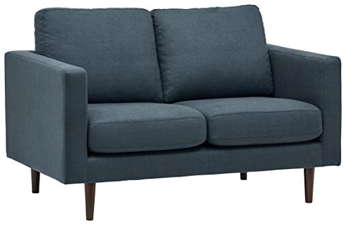 "Amazon Brand – Rivet Revolve Modern Upholstered Loveseat Sofa, 56""W, Denim"