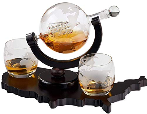 Whiskey Decanter Set World Etched Globe Decanter Airtight Stopper Antique Ship Liquor Dispenser Perfect Bar Gift Bourbon Scotch Vodka Liquor USA Map Tray 850 ml
