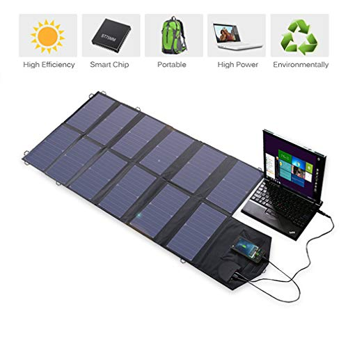 HWUKONG Portable Solar Charger, 80W Foldable Solar Panel Charger (5V USB-18V/80W) Everyday Waterproof Power Bank for/Laptop/Tablet/Ipad Android Smartphones