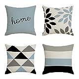 VOSAREA 4 unids Throw Pillow Covers Funda de cojín de Lino Decorativo Funda de Almohada Sofá Cama Silla Decoración del Hogar