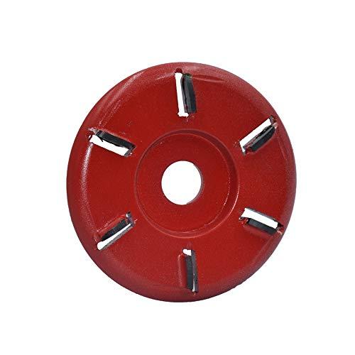 Seis dientes Power - Disco de tallado para madera (90 mm de diámetro y 16 mm de diámetro para amoladora angular (dientes de arco, rojo)