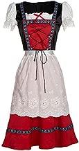 RONSHIN Stylish Clothing Women Oktoberfest Retro Red Midi Dress Bavarian Traditional Dirndl Costume red S