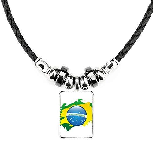 DIYthinker Colar com símbolo de cultura da bandeira do Brasil, joia com pingente de corda de couro