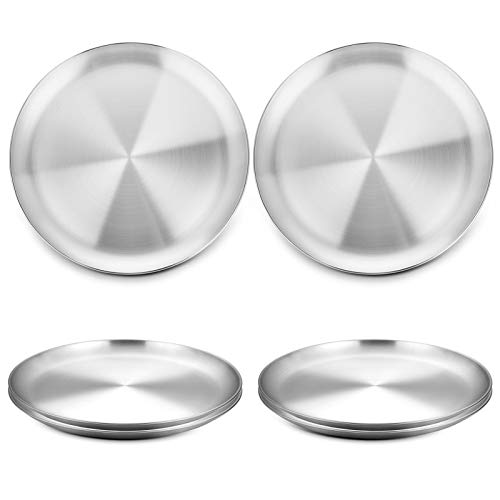 WEZVIX Stainless Steel Pizza Pan 8-Inch Set of 6, Pizza Baking Pan Pizza Tray Round Pizza Baking Sheet Oven Tray, Non-Stick & Dishwasher Safe