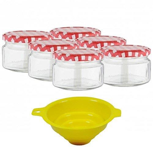 Viva Haushaltswaren - 6 x kleines Marmeladenglas / Einmachglas 250 ml mit Deckel, Twist-off Gläser Set rund - als Einweckgläser, Vorratsdosen etc. verwendbar (inkl. Trichter)