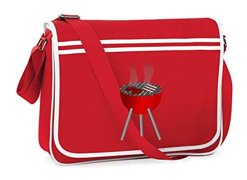 Druckerlebnis24 Schultertasche - Grillen BBQ Burger Holzkohle - Umhängetasche, geeignet für Schule Uni Laptop Arbeit
