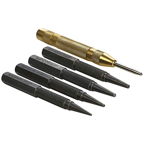 5-Piece Nail Setter Punches and Center Punch Set with Automatic Brass Center Punch and Zipper Case