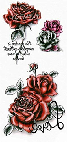 EROSPA® Tattoo-Bogen temporär/Sticker - Rosen Blüten Flower - Wasserfest - 9 x 19 cm